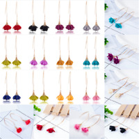 Popular Women Flower Tassel Bohemian Hook Long Earrings Charming Dangle Eardrop