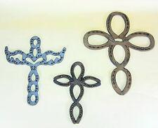 3 pc Western Wall Crosses Cast Iron Horseshoes Southwestern Christian Gift Large