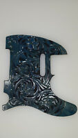 "Leather pickguard Custom Hand Tooled Leather Telecaster ""Floral Riffs"" turq"