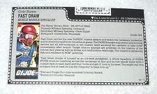 1987 Fast Draw - GI Joe file card (vintage)