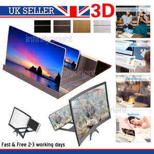 """12"""" Mobile Phone Curved Screen Magnifier Fordable 3D HD Video Amplifier Stand UK"""