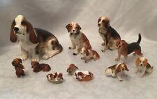11 Vintage Beagle Dog Puppy Figurines Lot Napco A&A Japan Enesco More 8� to 2�