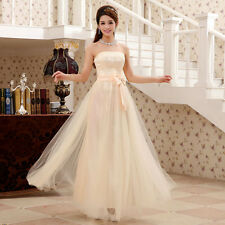 Champagne Lace Bow Evening Party Long Dress Bridesmaid Cocktail Wedding Gown