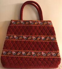 Vera Bradley Retired Rare Provincial Red Corduroy Bag
