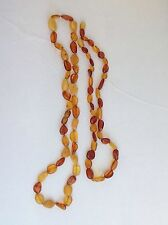 Vintage Lot of 2 Genuine Baltic Egg Yolk Honey Amber Pebbles Beaded Necklaces