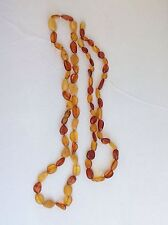 Vintage Lot of 2 Genuine Baltic Egg Yolk Honey Amber Pebbles Beaded Necklaces