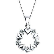 New products Fine crystal necklace Heart Quality White Gold Plated Jewelry Gift
