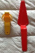 Vintage, TUPERWARE cake cutter/server, egg yolk separator, red and yellow, EUC
