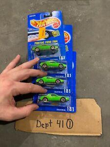 (4) Vintage Hot Wheels Blue Card #181 Pontiac Fiero 2M4 Green Metal Flake Paint