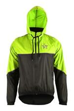 Cycling Rain Jacket Mens Hooded Waterproof Neck Fleece Winter Overcoat High-Viz