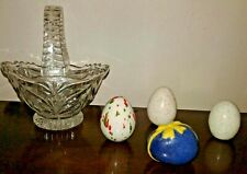 Ceramic Egg Decor Lot Lead Crystal Basket Htf Home VinTaGe Glass fs