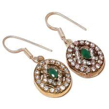 Faceted Emerald Gemstone silver plated Handmade Artisan CZ Turkish Earrings