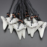 Charm Mens Shark Tooth Teeth Pendant Necklace Charm Wax Cord Rope String Chain