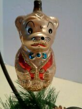 VTG Glass Christmas Tree Ornament Gold Teddy Bear Red Vest Figural Mercury