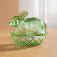 Green Bunny Vintage Depression Style Glass Candy Dish Nut Jar w Lid Cover New.