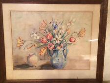 """Antique Hutch?""""Still-Life With Flowers"""" Watercolor Painting - Framed"""