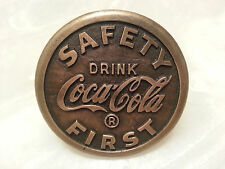 Coca-Cola Saftey First Brass Sidewalk Marker School Crossing Sign