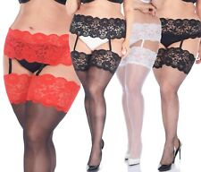 Deep Lace Suspender Belt with Stockings Size Plus and Regular