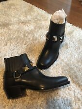 NEW WOMEN VALENTINO BEATLE BLACK LEATHER ROCKSTUD ANKLE BOOTS SHOES 36