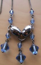 UNUSUAL MODERNIST VINTAGE ART DECO JAKOB BENGEL BLUE GLASS DROPPER NECKLACE