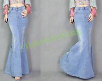 Fashion Vintage Women Dress Washed Jeans Light Casual Denim Fish Tail Long Skirt