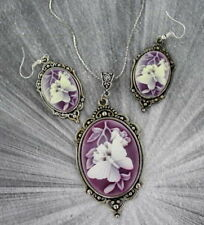 VINTAGE STYLE CAMEO PENDANT, NECKLACE AND EARRING SET  BUTTERFLY