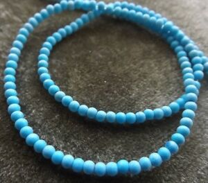 BEADS TURQUOISE (IMITATION) RESIN 2 MM ROUND 16 INCH STRANDS