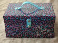 Justice Pink Blue makeup box animal print