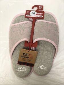 Dearfoams Women's Cloud Step Gel Infused Memory Foam Slide Slippers Size M (7-8)