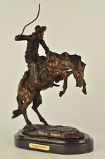 BRONCO BUSTER by Frederic Remington 100% Bronze on Marble Sculpture Statue Art