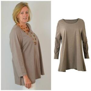 Evans Plus Size Taupe Brown Swing Tunic Top Long Sleeve Size 22 26 30