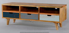 SCANDI TV ENTERTAINMENT UNIT - MANGO WOOD - 3  DRAWERS IN BLUE,GREY & WHITE