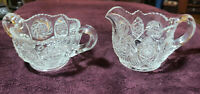 Antique Sunburst Creamer and Sugar Bowl Set  Mckee Glass Early 1900's