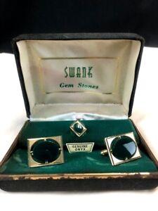 RARE Vintage Men's Jewelry SET & Box Swank Cuff Links and Tie Chain Genuine Onyx
