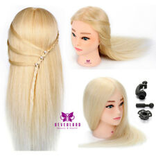 100% Real Hair Hairdressing Training Head With Eyelash & Mannequin  + Clamp