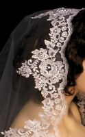 Full Mantilla Floral Beaded Lace Edge Cathedral Bridal Wedding Veil White Ivory