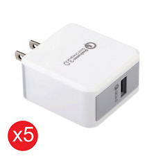 5x Quick Fast Charge 3.0 Qualcomm 18W USB Wall Charger For iPhone 10 Samsung 8 9