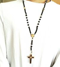 Hip Hop Black Beads Alloy Cz Rosary Jesus Cross Religious Necklace Chain