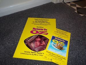 RETURN TO OZ  Charity Premiere Programme and Ticket