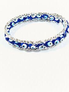 Artisan Silver Tone Textured Blue Evil Eye Acrylic  Memory wire Wrap Bracelet