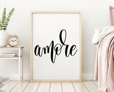 Amore Love Meaning Bedroom Home Quote Wall Art Print Picture Black Family Decor