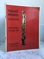 Catalogue de vente Tableaux Modernes Sculptures Palais Galliera 12 Décembre 1969