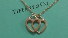 Tiffany & Co.18K Rose Gold Double Open Hearts Pendant Necklace