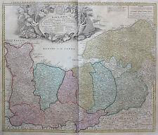 Homann: Orig. altkol. Kupferstich Landkarte Normandie Frankreich France; 1746