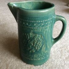 Antique Yelloware Pitcher With Green Glaze