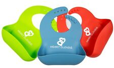 Waterproof Silicone Baby Bibs Red, Blue, or Green Super Cute New