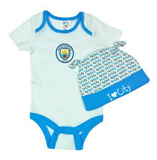 BABY Boys 9 12 Months MANCHESTER CITY Babygrow Hat Set Football Bodysuit Romper