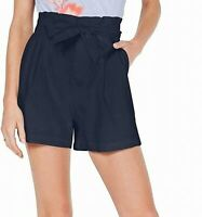 INC Women's Shorts Navy Blue Size Medium M Linen Paperbag Tie-Waist $54 #666