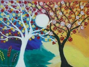 """Yin and Yang Trees   acrylic  on Canvas 16"""" x 12"""" By Casimira Mostyn"""