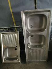 Lavello cucina da incasso in acciaio Inox, misura cm.120x50, con 2 vasche